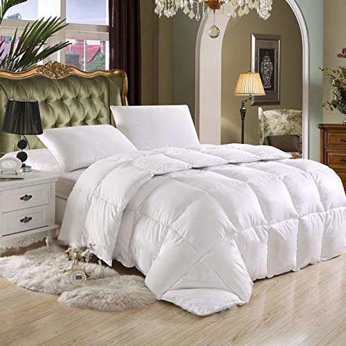Egyptian Bedding LUXURIOUS King / California King Cal King HARD-TO-FIND 90 Oz Fill Weight Goose Down Alternative Comforter, 600 Thread Count 100% EGYPTIAN COTTON Cover, 750 Fill Power, Solid White Color