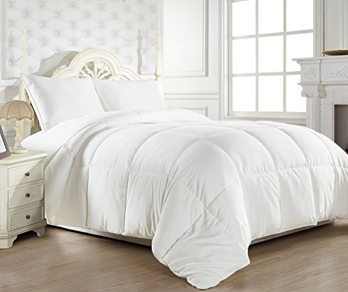 Oversized King 110″x96″ White Down Alternative Comforter Duvet Insert – Corner Tabs, Double Stitches, Piped Edges, Siliconized Fiber, Protects Against Dust Mites, Hypoallergenic, Allergy Free