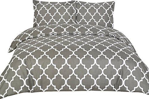 Printed Duvet-Cover-Set – Luxurious, Comfortable, Breathable, Soft & Extremely Durable – Brushed Velvety Microfiber – Hotel Quality By Utopia Bedding Queen,Grey – Wrinkle, Fade & Stain Resistant