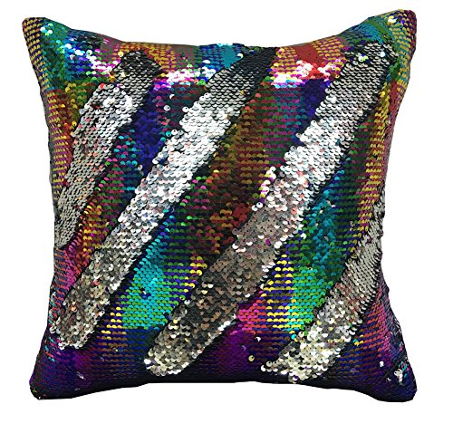 LAGHCAT Reversible Cushion Covers Sequins Mermaid Pillow Cases with magic mermaid sequin Colorful and silver