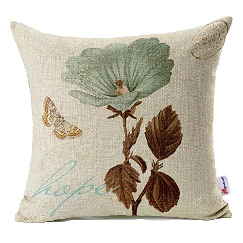 Monkeysell Lotus Leaf Butterfly Flowers Pattern Cotton Linen Throw Pillow Case Cushion Cover Home Sofa Decorative 18 X 18 Inch S042A1