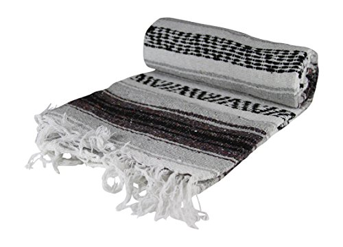 KAYSO Authentic 6′ x 5′ Mexican Siesta Blanket Grey