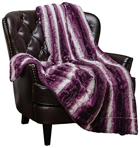 Violet Aubergine and White – Chanasya Super Soft Fuzzy Fur Elegant Faux Fur Falling Leaf Pattern With Fluffy Plush Sherpa Cozy Warm Purple Throw Blanket 50″ x 65″