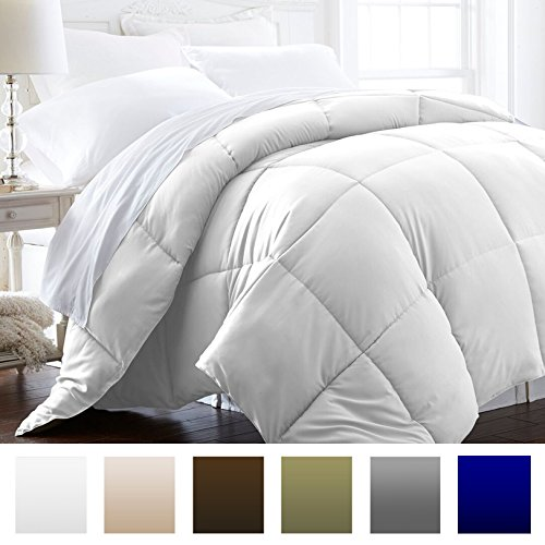 White – Lightweight – Luxury Goose Down Alternative Comforter – Beckham Hotel Collection 1500 Series – Hotel Quality Comforter and Hypoallergenic -Full/Queen