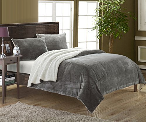 Chic Home 2 Piece Evie Microplush Mink-Like Super Soft Sherpa Lined Comforter Set, Twin X-Long, Grey