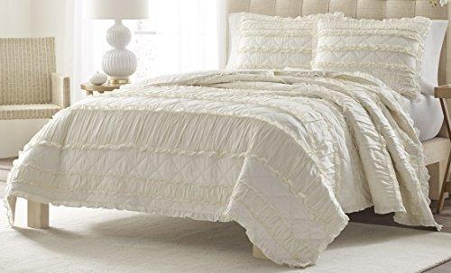 Stone Cottage Ruffled Quilt Set, King, Ivory