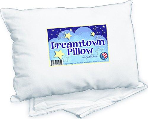 Dreamtown Kids Toddler Pillow With Pillowcase, White, 14×19