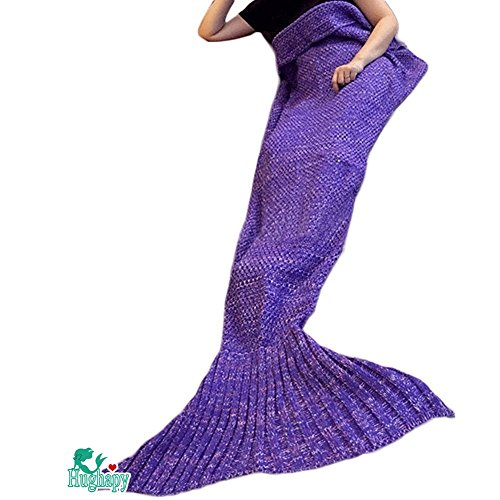 Hughapy Christmas Soft Mermaid Tail Blanket Handmade Living Room Sleeping Blanket For Kids Adult  71″x35″, Dark Purple