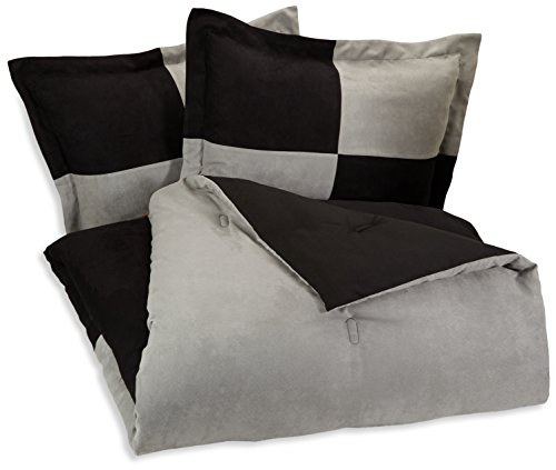 AmazonBasics 3-Piece Two-Tone Microsuede Comforter Set – Full/Queen, Black