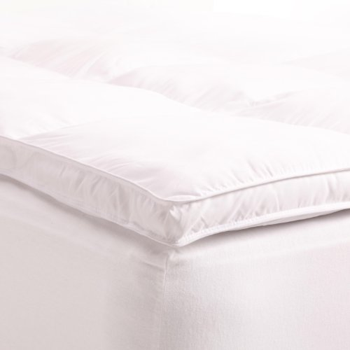 Plush, Overfilled, and 2″ Thick – Superior Queen Mattress Topper, Hypoallergenic White Down Alternative Featherbed Mattress Pad