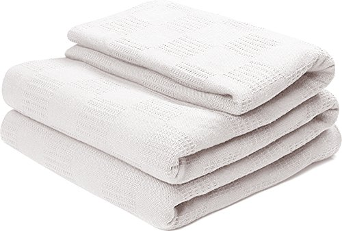 Cotton Throw Blankets Queen/Full, White Breathable Thermal Bed/Sofa Blanket Couch Quit by Utopia Bedding