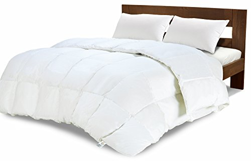 350 GSM White Alternative Goose Down Duvet Queen – Equinox Comforter – Hypoallergenic, Plush 350GSM Siliconized Fiberfill, Box Stitched, Protects Against Dust Mites and Allergens
