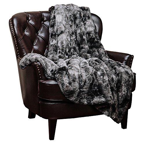 Chanasya Super Soft Fuzzy Fur Faux Fur Cozy Warm Fluffy Beautiful Color Variatiion Print Plush Sherpa Dark Gray Fur Throw Blanket 50″ x 65″ -Charcoal Gray Waivy Fur Pattern