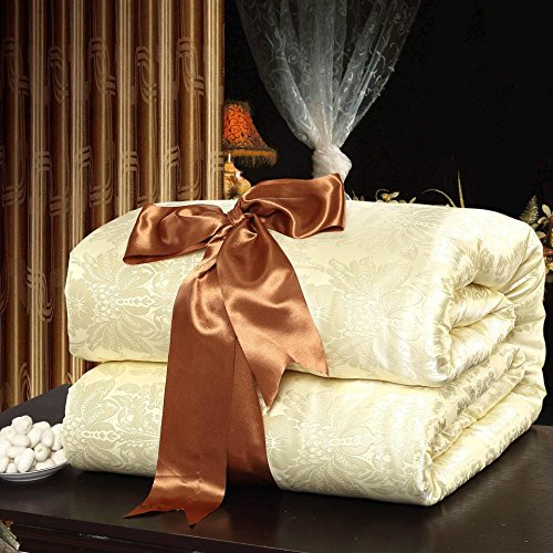 Royals Eco-friendly Handmade Pure Mulberry Silk Filled Comforter Quilt Duvet Blanket Coverlet Bedspread Twin Size for Summer Season Use