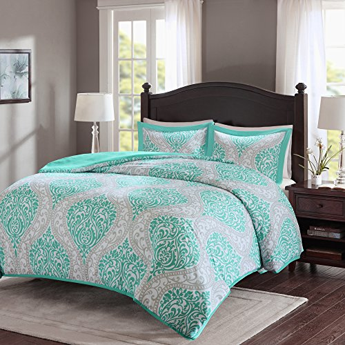 Comfort Spaces – Coco Duvet Cover Mini Set – 3 Piece – Teal and Grey – Printed Damask Pattern With Corner Ties – Full/Queen size, includes 1 Duvet Cover, 2 Shams