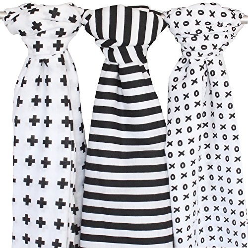 Muslin Baby Swaddle Blankets, 47×47 3 Pack Black, White, XO, Stripe, Cross