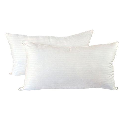Cozy Bed PilDamaskStrKG Medium Firm Hotel Quality Pillow Set of 2, White, King