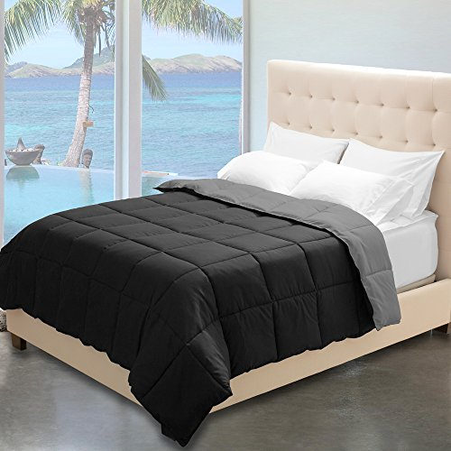Reversible Premium Ultra-Soft Down Alternative Comforter Twin/Twin XL, Black/Grey
