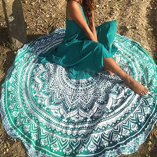 Popular Handicrafts Round Roundie Indian Mandala Round Roundie Beach Throw Picnic Tapestry Hippy Boho Gypsy Cotton Table Cover Beach Tapestry , Round 70″