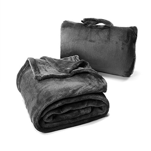 Cabeau Fold 'n Go Blanket & Case – Doubles as Lumbar Pillow and Neck Support Pillow – Charcoal