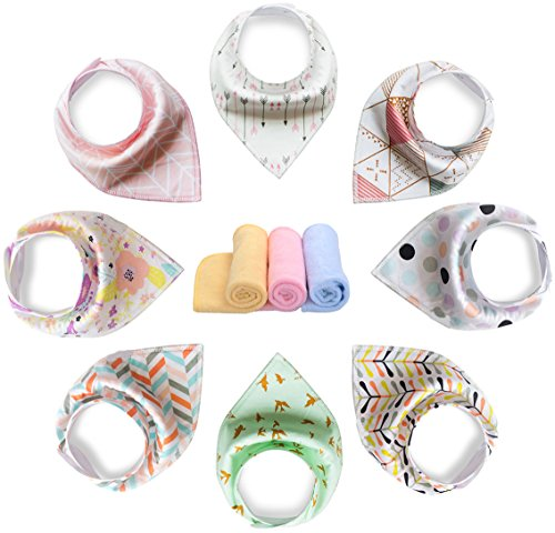 YOOFOSS Baby Bandana Drool Bibs Scarves Unisex 8 Pack Gift Set for Teething and Drooling, 100% Organic Cotton, Soft and Absorbent Girls