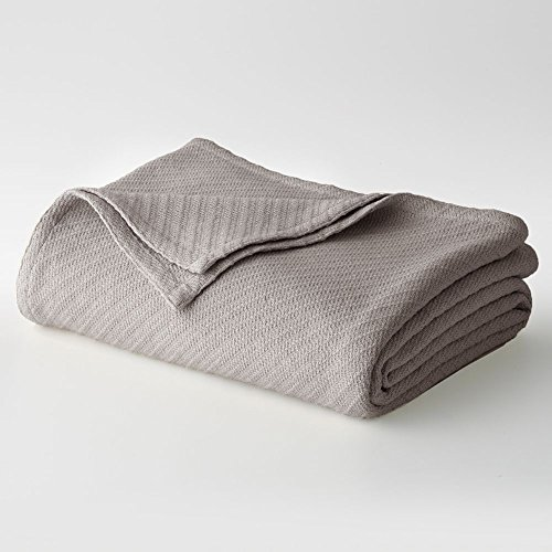 Cotton Craft – 100% Soft Premium Cotton Thermal Blanket – Perfect for Layering any Bed – Snuggle in these Super Soft Cozy Cotton Blankets – Provides Comfort and Warmth for years – Full/Queen Grey