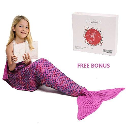Mermaid Tail Blanket, Amyhomie Mermaid Blanket Adult Mermaid Tail Blanket, Crotchet Kids Mermaid Tail Blanket for Girls Kids, Rainbow-Pink