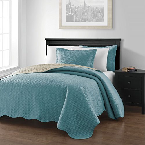 Chezmoi Collection Mesa 3-piece Reversible Bedspread King Size, Blue/Khaki