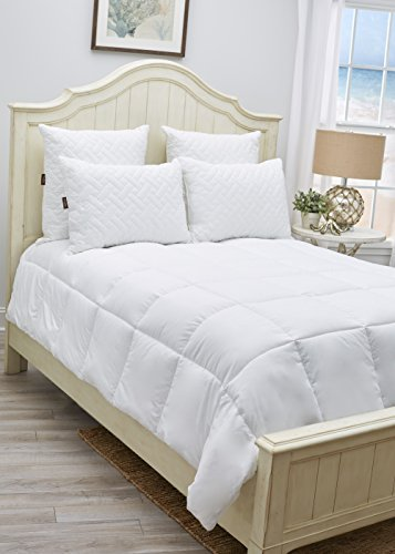 Extra Plush, Box Stitched Quilted, Hypoallergenic Comforter with Premium Microfiber and Down Alternative Poly Fill Twin – White Comforter Duvet Insert by Panama Jack