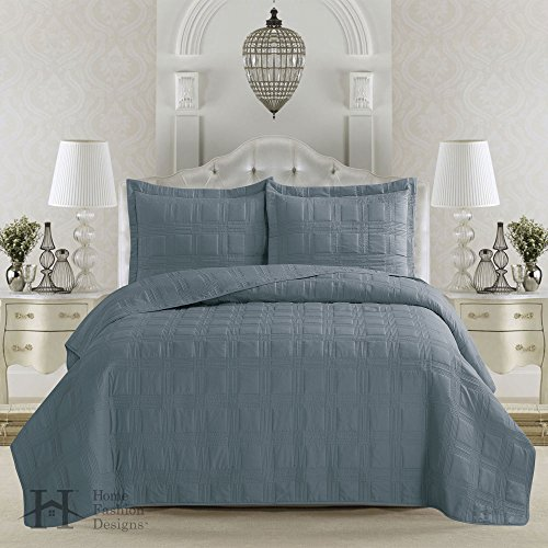 Terra Collection 3-Piece Luxury Quilt Set with Shams. Soft All-Season Microfiber Bedspread & Coverlet in Solid Colors with Embroidered Box Design. By Home Fashion Designs Brand. F/Q, Citadel Blue