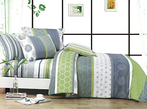 Swanson Beddings Serene 3-Piece 100% Cotton Bedding Set: Duvet Cover and Two Pillow Shams King