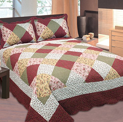 Mk Collection Full/queen Size 3pc Bedspread Floral Patchwork Off White Burgundy Pink Beige Coverlet Set New 0015001