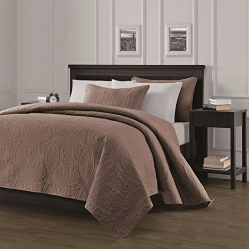 Chezmoi Collection Austin 3-piece Oversized 118″x106″ Bedspread Coverlet Set King, Taupe