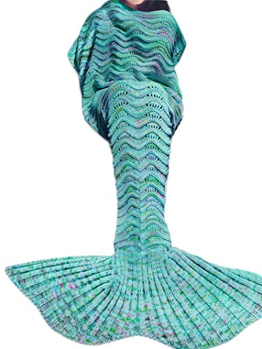 Kpblis Knitted Mermaid Tail 75-Inch–by–31-Inch Blanket BlueN3