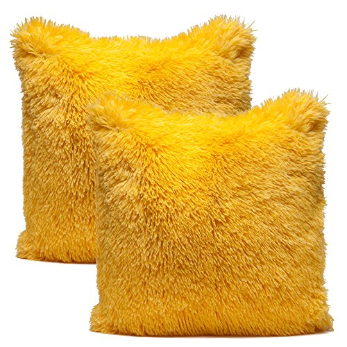 Solid Yellow Fur Throw Pillowcase 18×18 Inches 2-PackPillow Insert Not Included – Chanasya Super Soft Long Shaggy Chic Fuzzy Fur Faux Fur Warm Elegent Cozy Yellow Throw Pillow Cover Pillow Sham