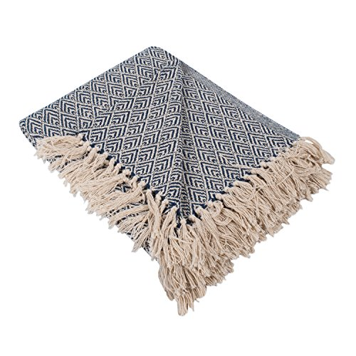 DII 100% Cotton Diamond Herringbone Throw for Indoor/Outdoor Use Camping, BBQ's, Beaches, Everyday Blanket – 50 x 60″, Diamond Nautical Blue
