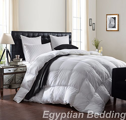 LUXURIOUS 1200 Thread Count GOOSE DOWN Comforter , Queen Size, 1200TC – 100% Egyptian Cotton Cover, 750 Fill Power, 50 Oz Fill Weight, White Color by Egyptian Bedding