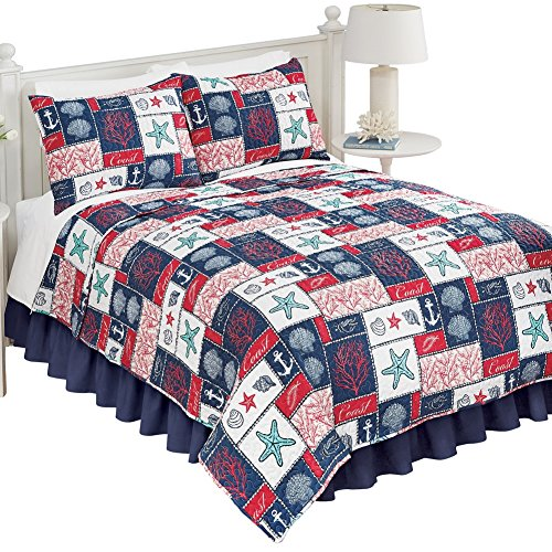 Catalina Coastal Navy Red White Seaside Pattern Reversible