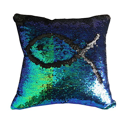 Livedeal Reversible Sequins Mermaid Pillow Cases 40*40cm Multi Green and Black