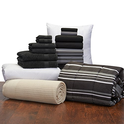 16 Piece Guys Student Starter Pak – Twin XL College Dorm Bedding and Bath Set Color: Black and Black Easton