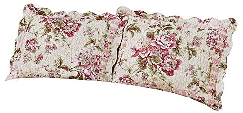 Pretty Peony Floral Garden Quilted Pillow Sham, Pink Flowers, Sham