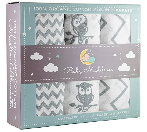 Premium Organic Cotton Baby Swaddle Blankets, Large 47 x 47 inch Muslin Swaddle Blankets, 3 Pack