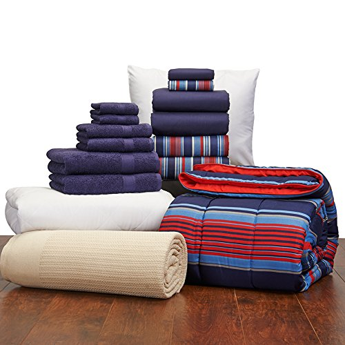 16 Piece Student Starter Pak – Twin XL College Dorm Bedding and Bath Set Color: Navy and Varsity Stripe