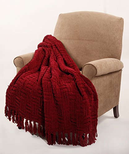 BOON Cable Knitted Throw Couch Cover Blanket, 50″ x 60″, Burgundy