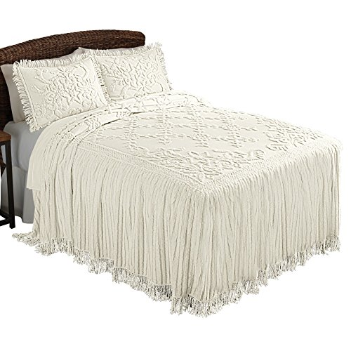 Cottage Charm Floral Lattice Chenille Lightweight Bedspread with Fringe Edging, Cream, Full