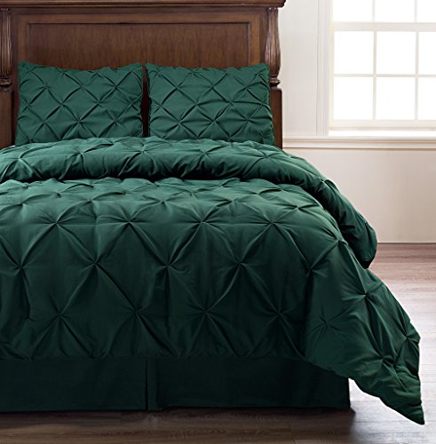 Pinch Pleat Hunter Green Color King Size 4-Piece Comforter Set, Bed Cover by Cozy Beddings