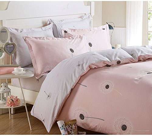TheFashionWay Printed Floral 100% Cotton 3 Pieces Duvet Cover Bedding Set Queen Size, 1 Duvet Cover + 2 Pillow Shams Pink
