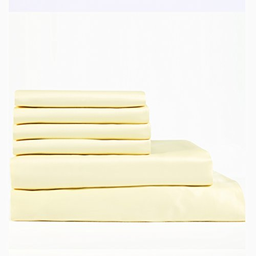 Cambay Linens 400 Thread Count Cotton Sateen Queen Sheet Set, Gold Set of 6