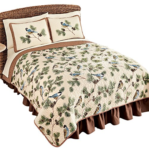 Woodland Birds and Pinecones Quilted Reversible Lightweight Bedspread, Tan, Full/Queen