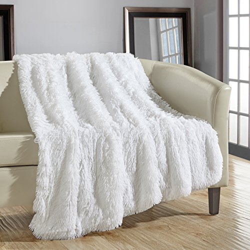 Chic Home 1 Piece Elana Shaggy Faux Fur Super Soft Ultra Plush Decorative Throw Blanket, 50 x 60″, White